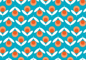 Blue Retro Flowers 20002