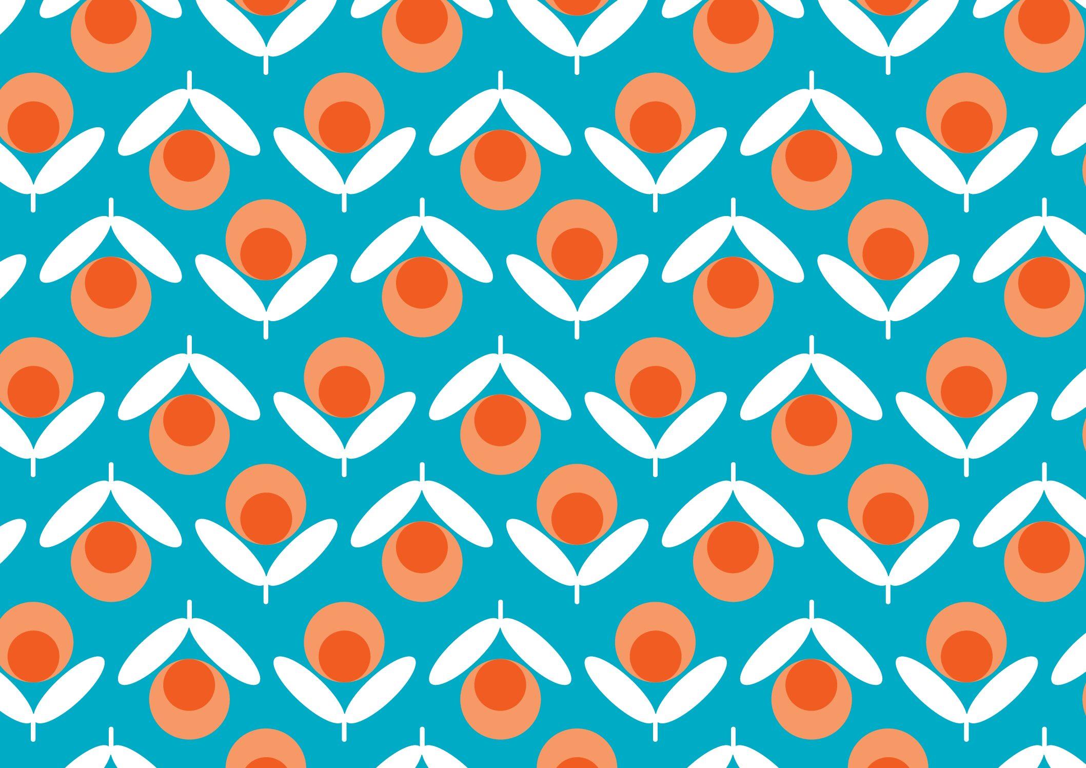 Blue Retro Flowers 20002